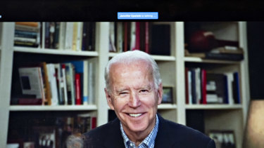 Former vice-president Joe Biden, 2020 Democratic presidential candidate, smiles during a virtual press briefing.