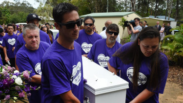 Thorburn, who pleaded guilty to the murder of his foster daughter, carried her coffin at the funeral.