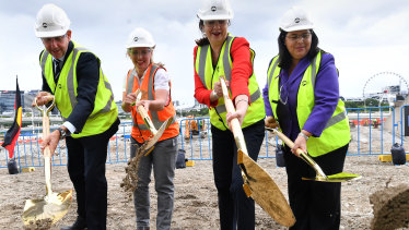 State Development Minister Cameron Dick, Tourism Minister Kate Jones, Premier Annastacia Palaszczuk and Industrial Relations Minister Grace Grace turning the first sod at Queen's Wharf on March 8 with gold shovels.