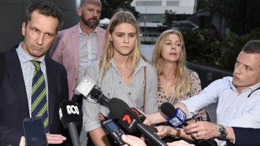 Shayna Jack with her mother, Pauline, and lawyer after a meeting with ASADA in August 2019.