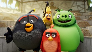Bomb (Danny McBride), Chuck (Josh Gad), Leonard (Bill Hader) and Red (Jason Sudeikis) are hit and miss in Angry Birds 2.