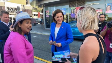 LNP leader Deb Frecklington with McConnel candidate Pinky Singh at the Fortitude Valley early polling booth.
