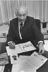 Xavier Connor, who headed the inquiry into whether Victoria should have a casino, at his desk in 1982.