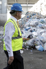 Scott Morrison tours a recycling facility in the United States in September.