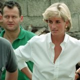 Diana, Princess of Wales, and her butler, Paul Burrell, meeting Bosnian Serbs and Muslims affected by landmines nearTuzla, Bosnia in 1997.