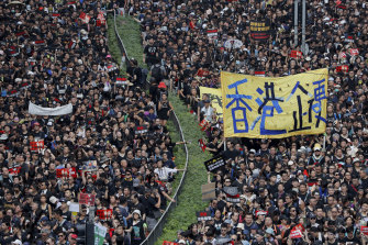 Tens of thousands of people protest in the streets of Hong Kong on June 19, 2019.