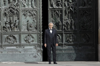 Italian singer Andrea Bocelli performed solo at the Duomo cathedral in Milan at Easter.