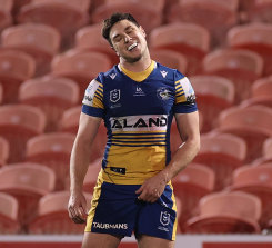Mitchell Moses rues his missed penalty goal attempt that would have won the Eels the match.