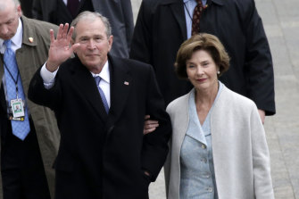 Former First Lady Laura Bush with former President George W. Bush at Donald Trump's inauguration.