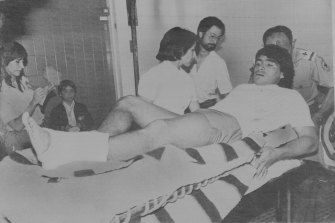 Diego Maradona recovers from a broken leg sustained against Athletic Bilbao while playing for Barcelona.