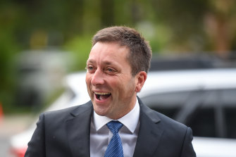 Matthew Guy arriving for Tuesday's party-room meeting.