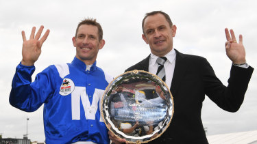 History: Bowman and Waller celebrate Winx's fourth Cox Plate at Moonee Valley last year.