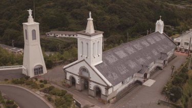 Shitsu Church with its two steeples is in the north-western part of Kyushu island, Japan.