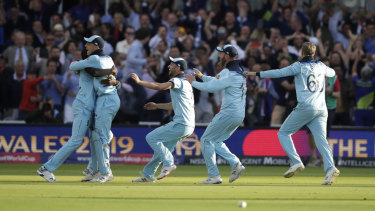 England celebrate after winning the World Cup final against New Zealand at Lord's on Sunday.
