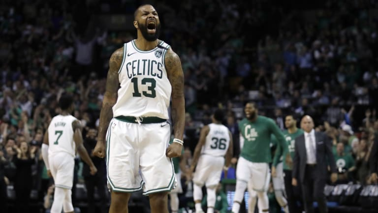 Boston Celtics forward Marcus Morris fires up.