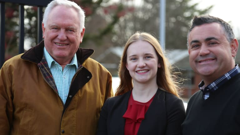 Yvette Quinn, the 21-year-old Nationals candidate for Orange, with Rick Colless, left, and Deputy Premier John Barilaro.