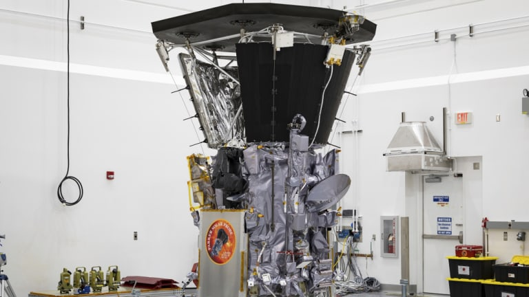 The Parker Solar Probe in a clean room at Astrotech Space Operations in Titusville, Florida, after the installation of its heat shield.