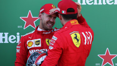 Top two qualifiers Sebastian Vettel of Germany and Ferrari and Charles Leclerc of Monaco and Ferrari after qualifying for the Japanese GP.
