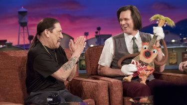 Jim Carrey as Jeff Pickles and Danny Trejo as himself in Kidding.