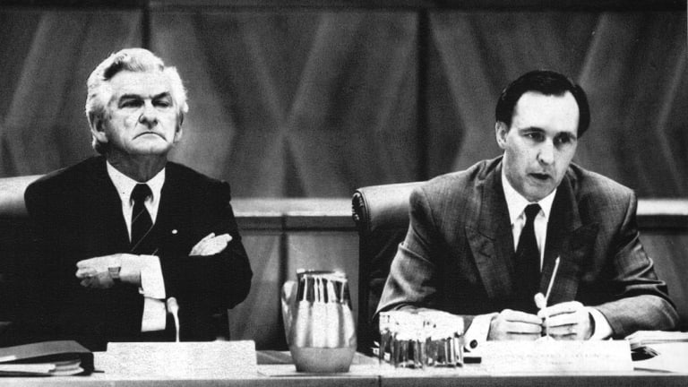 Bob Hawke and Paul Keating during the Premiers conference, May 1991.