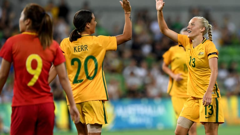 Tameka Butt (R) has joined Melbourne City to bolster its W-League squad.