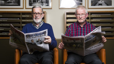 Volunteers John Warren and Neil Hamilton at the National Library of Australia.