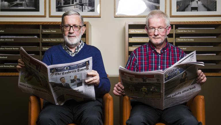 Volunteers John Warren and Neil Hamilton at the National Library of Australia.