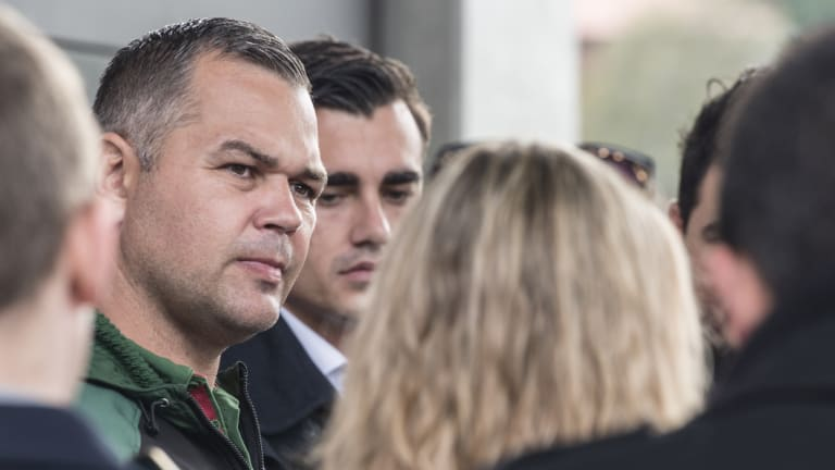 Rabbitohs coach Anthony Seibold faces the media over the scandal at Redfern Oval on Friday.