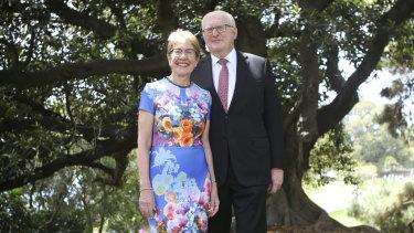 Justice Margaret Beazley and husband Dennis Wilson on Sunday.
