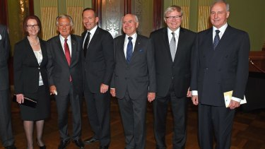 Former prime ministers Julia Gillard, Bob Hawke, Tony Abbott, John Howard, Kevin Rudd and Paul Keating in 2014.
