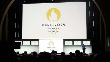 The French Olympics logo on display in Paris this month.