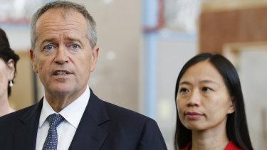 Opposition Leader Bill Shorten and Labor candidate for Chisholm Jennifer Yang.