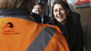 NSW Premier Gladys Berejiklian  at Sutherland station on Sunday.