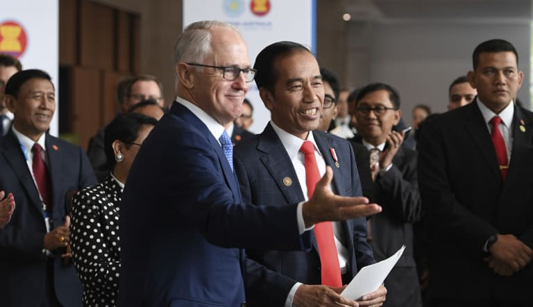 Former prime minister Malcolm Turnbull and Indonesian President Joko Widodo during the ASEAN-Australia Special Summit in Sydney in March, prior to Mr Turnbull's ousting.