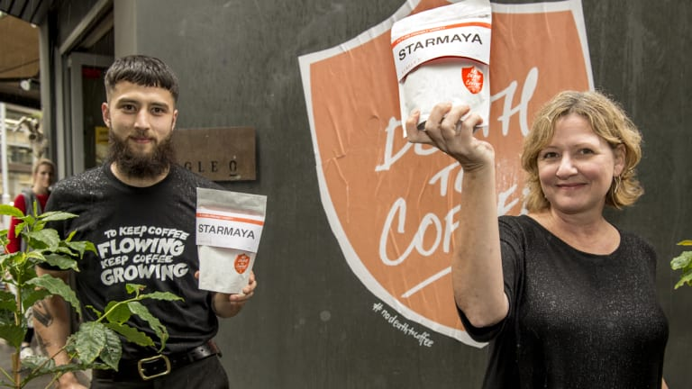 Single O barista Oliver Hinder and the company's director Wendy De Jong with their new climate-resilient coffee variety Starmaya.