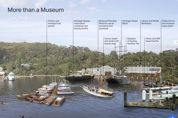 An artist's impression of the Museum of Sydney Harbour proposed for Berrys Bay.