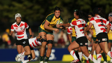 Japanese defenders try to contain Millie Boyle at last Saturday's Newcastle game.