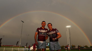 Tom and Jake Trbojevic enjoy the light show after the match at Glen Willow Sporting Complex.
