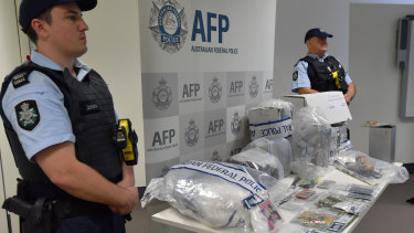 The Australian Federal Police display the drugs that were seized.