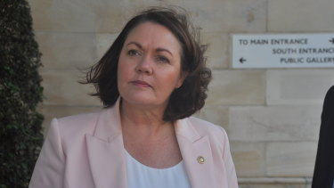 Opposition Leader Liza Harvey arriving at parliament ahead of a crucial party room meeting.