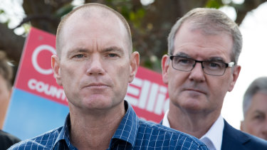 NSW Labor leader Michael Daley, right, campaigns with the Labor candidate for Tweed, Craig Elliot, in Kingscliff, on the NSW North Coast, on Thursday.