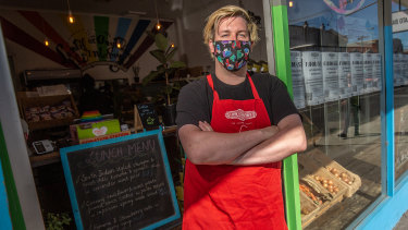 Luke Cornelissen, manager of Thornbury's Lentil As Anything restaurant is scared at the prospect of the chain folding.
