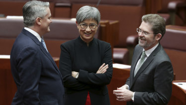 Party senate leaders Mathias Cormann and Penny Wong with President of the Senate Scott Ryan.