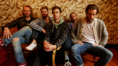 Australian band The Rubens with lead singer Sam Margin on the right.