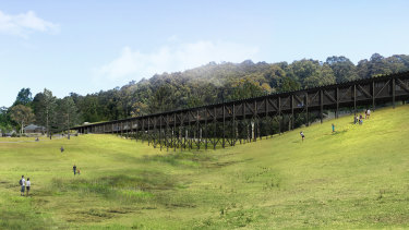 The trestle like structure housing creative learning hub and accommodation.