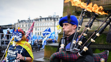 Independence hopes burn bright as independence supporters gather at a rally in Glasgow, Scotland.
