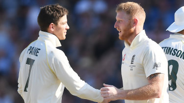Tim Paine and Ben Stokes shake hands after England's one-wicket victory in the third Test.