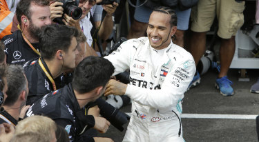 Mercedes driver Lewis Hamilton after winning the French Formula One Grand Prix at the Paul Ricard racetrack in Le Castellet on Sunday.