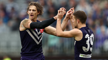 Nat Fyfe with Sam Switkowski, who the Dockers captain expects big things of in 2020.