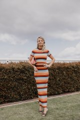 Good stretch ... socialite Nadia Fairfax, in Scanlan Theodore, at the Caulfield Cup.